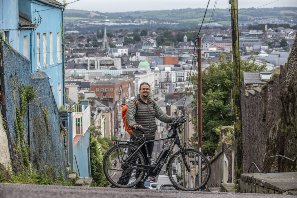 Mats Hedberg of Cork at the top of Patrick's Hill in Cork with his electric bicycle.