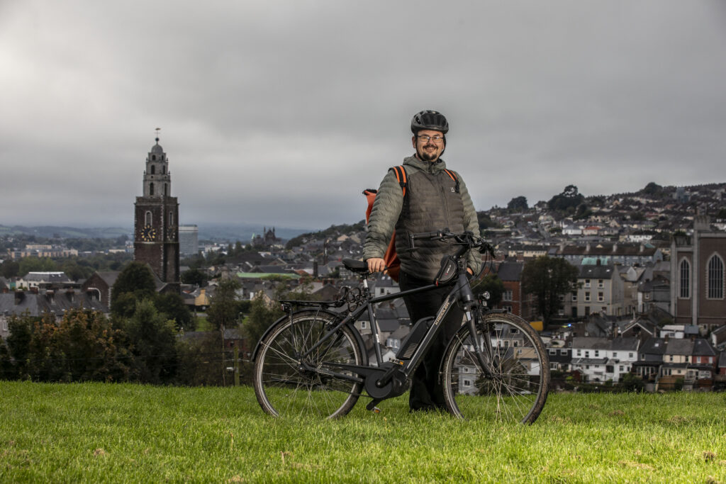 Mats Hedberg of Cork at Bell's Field in Cork with his electric bicycle.